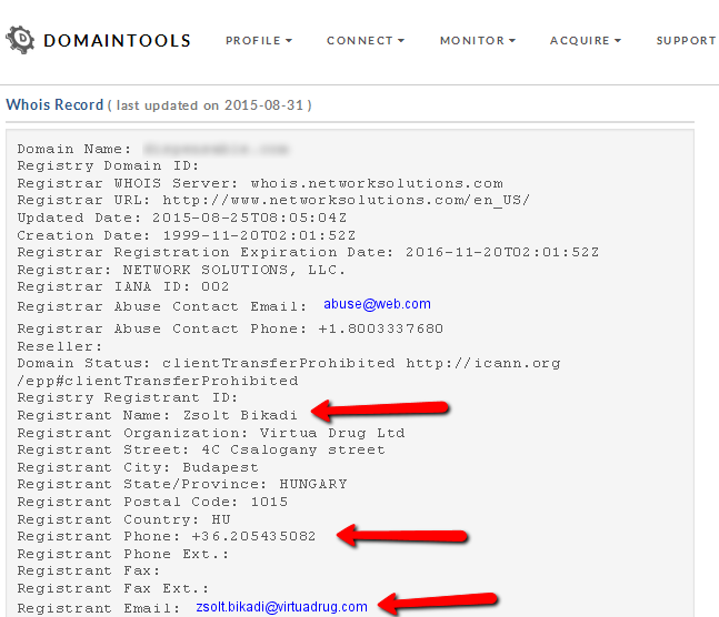 The owner (Registrant) of a domain in the whois search