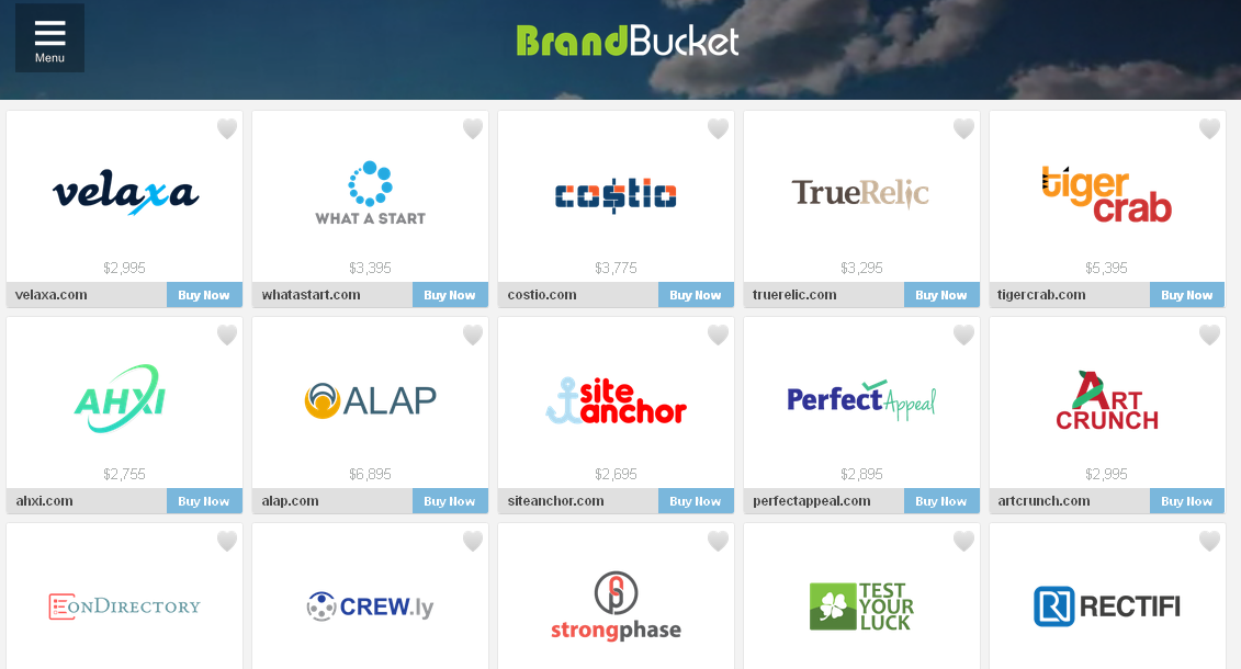 Homepage of BrandBucket: attractive presentation makes domain names more desirable