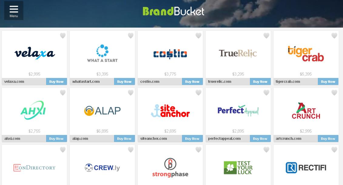 Homepage of BrandBucket: attractive presentation makes domain names more desirable