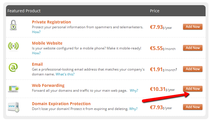 Domain forwarding is quite expensive at Network Solutions
