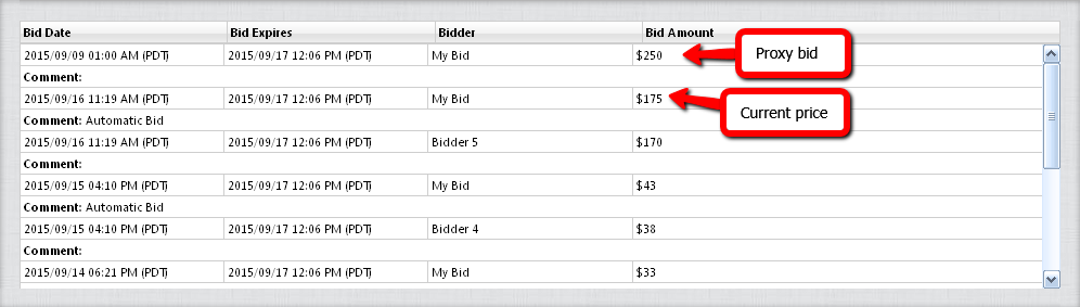 Proxy bidding in GoDaddy auctions