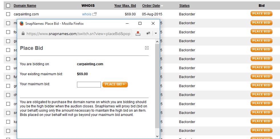 Backordering domain names at Snapnames