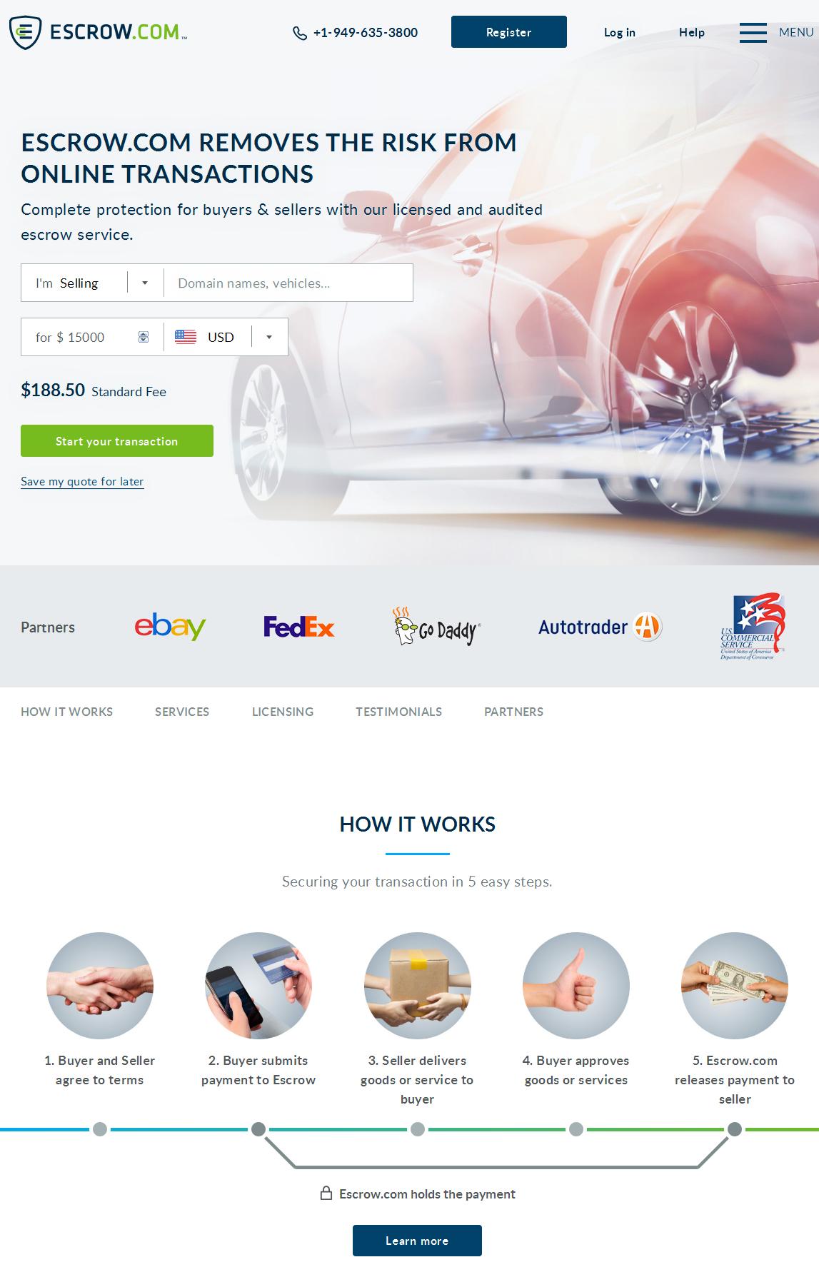 Homepage of Escrow.com, the most popular online escrow service