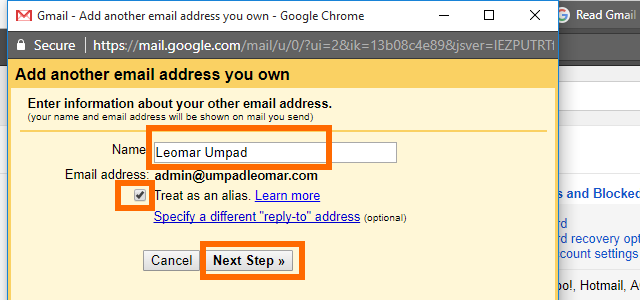 10. Gmail - Enter information about your custom domain email address