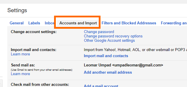 4. Gmail Settings Accounts and Imports