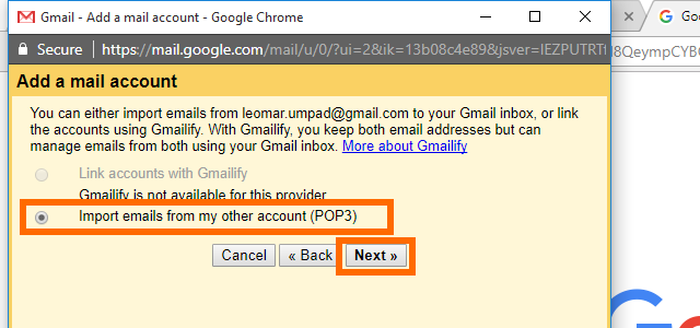 7. Gmail - Import Emails from other POP3 accounts