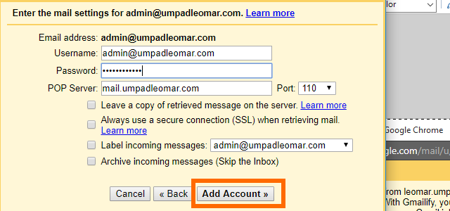 8. Gmail - Import Emails - Enter Custom Domain email details