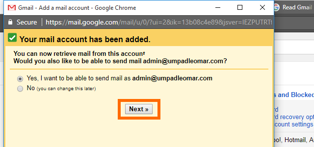 9. Gmail - custom domain email added