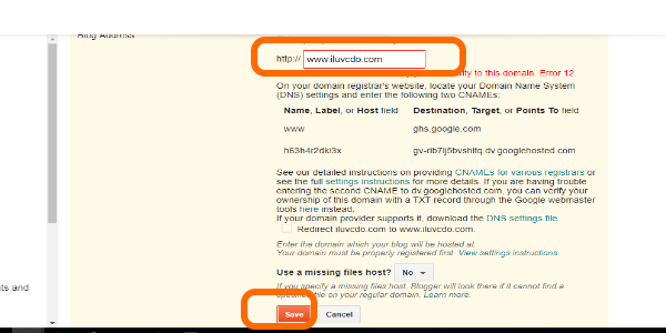 Blogger Final Saving of Custom Domain Name