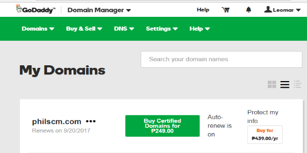 Domain Manager GoDaddy