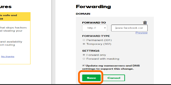 Godaddy Domain Forwarding SAVE button