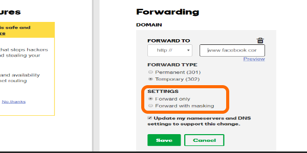 Godaddy Domain Forwarding Settings