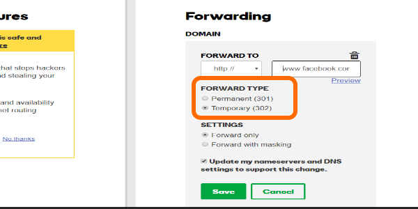 Godaddy Domain Forwarding Type
