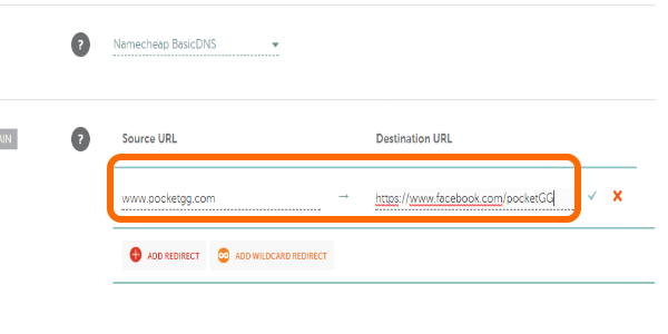 NameCheap Add Redirect Enter URLs