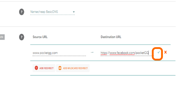 NameCheap Checkmark to confirm URL Redirect