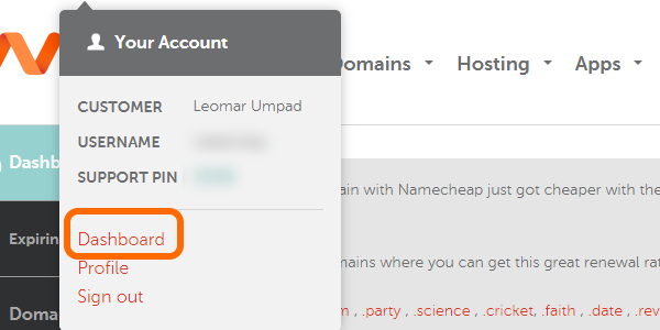 NameCheap username Dashboard