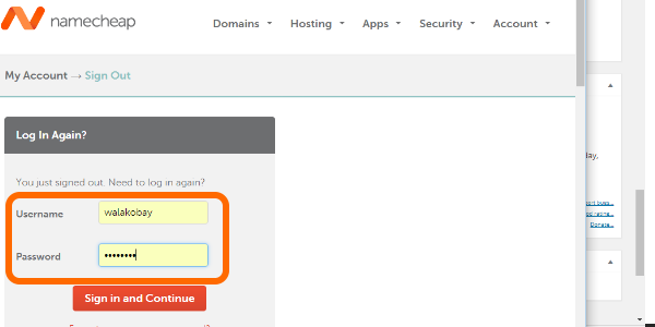 NameCheap username and password
