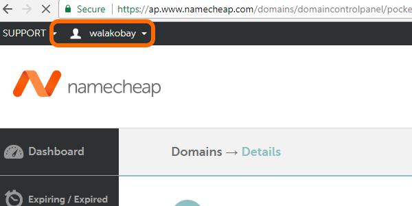 nameCheap USERNAE