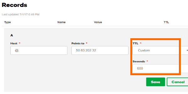 GoDaddy DNS Management Records TTL