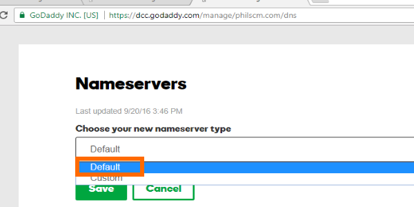 GoDaddy Nameserver Change Default