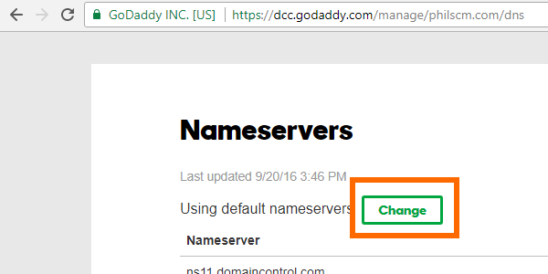 GoDaddy Nameserver Change