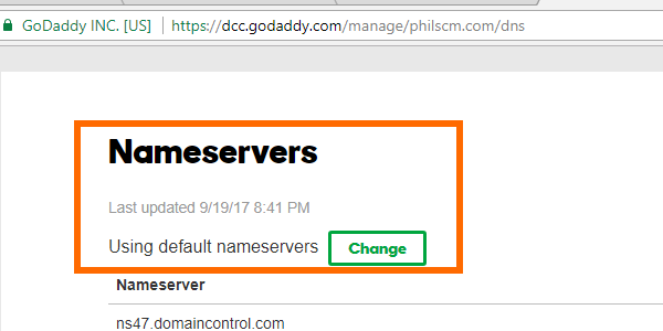GoDaddy Nameservers Section