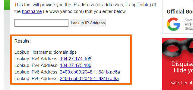 WhatismyIPaddress Enter Hostname Lookup IP Address Results