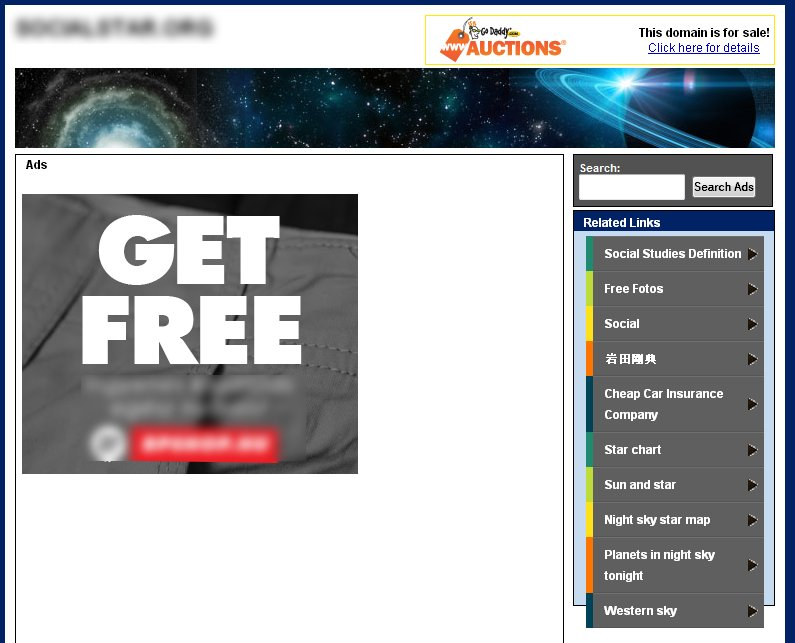 Landing page of a parked domain with GoDaddy