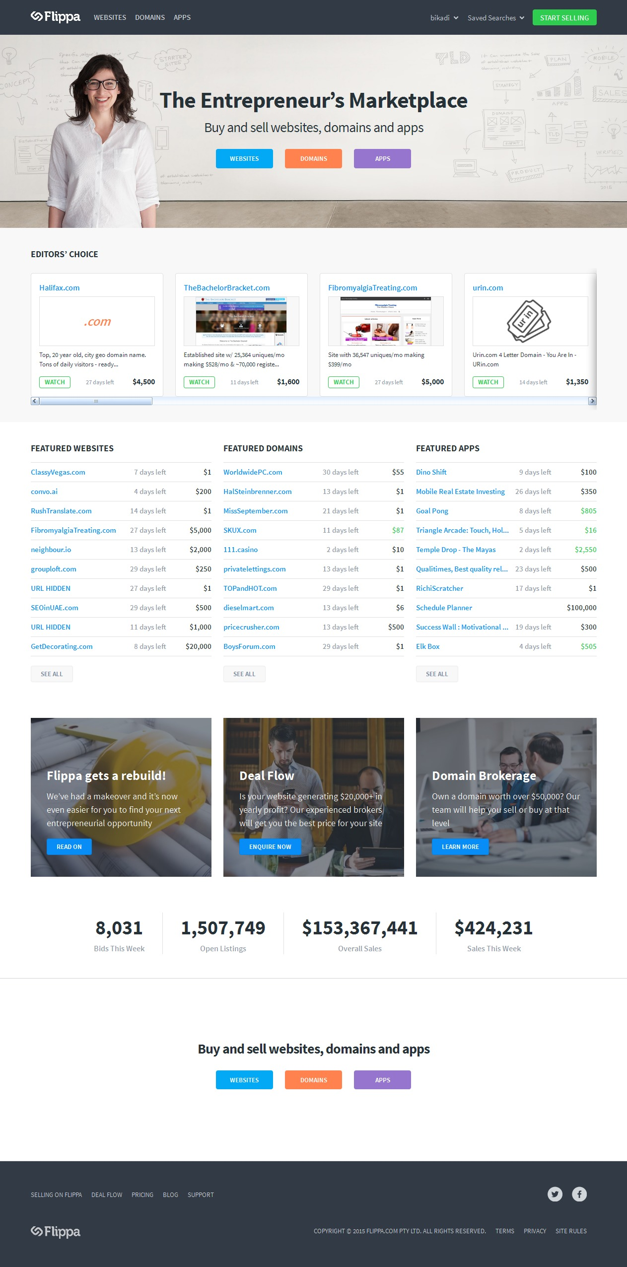 The redesigned Flippa homepage got a makeover