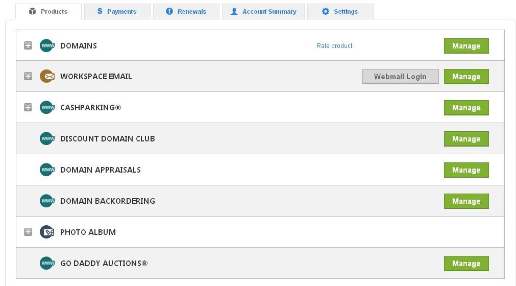 Main menu of domain managament at GoDaddy