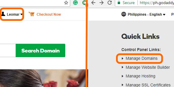 Goddady Username and Manage Domain options