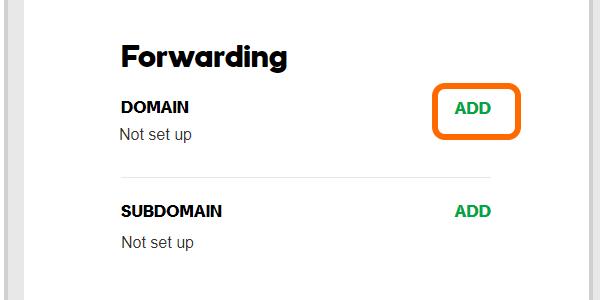 Godaddy Domain Forwarding ADD button