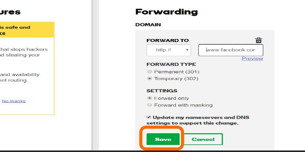 Godaddy Domain Forwarding SAVE button