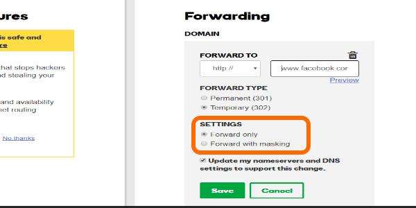 Godaddy Domain Forwarding Settings