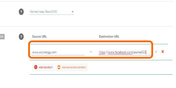 NameCheap Add Redirect Enter URLs