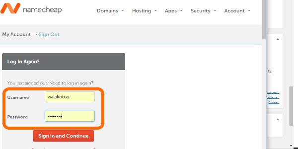 NameCheap username and password