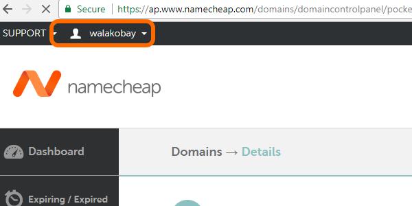 nameCheap USERNAE
