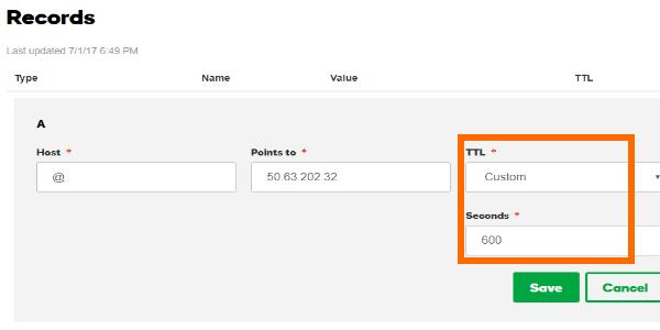 GoDaddy DNS Management Records TTL