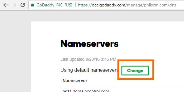GoDaddy Nameserver Change